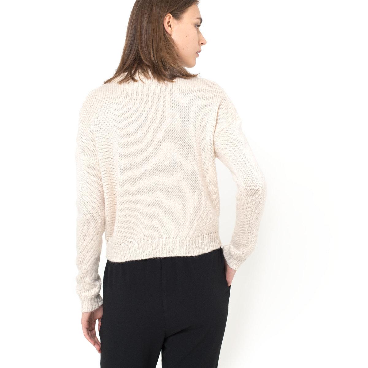 Пуловер короткийПуловер крупной вязки, укороченный. Края низа и рукавов сшиты в рубчик. Круглый вырез . Пуловер, 100% акрила. Длина ок.52 см .<br><br>Цвет: экрю<br>Размер: 50/52 (FR) - 56/58 (RUS)