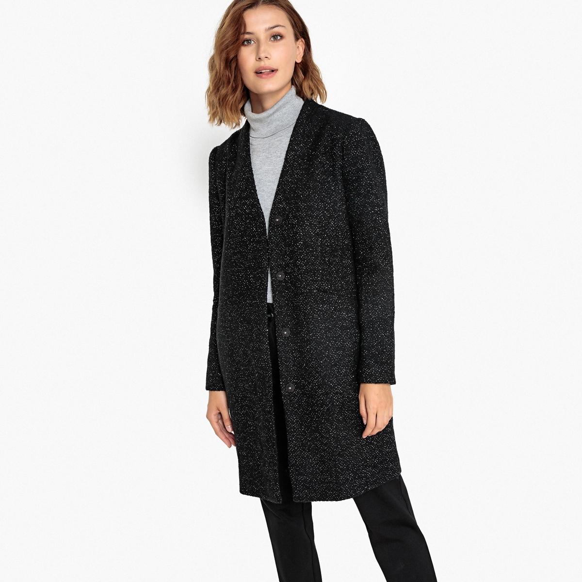 Пальто La Redoute Из полушерстяной ткани с волокнами с металлическим блеском 34 (FR) - 40 (RUS) черный цены