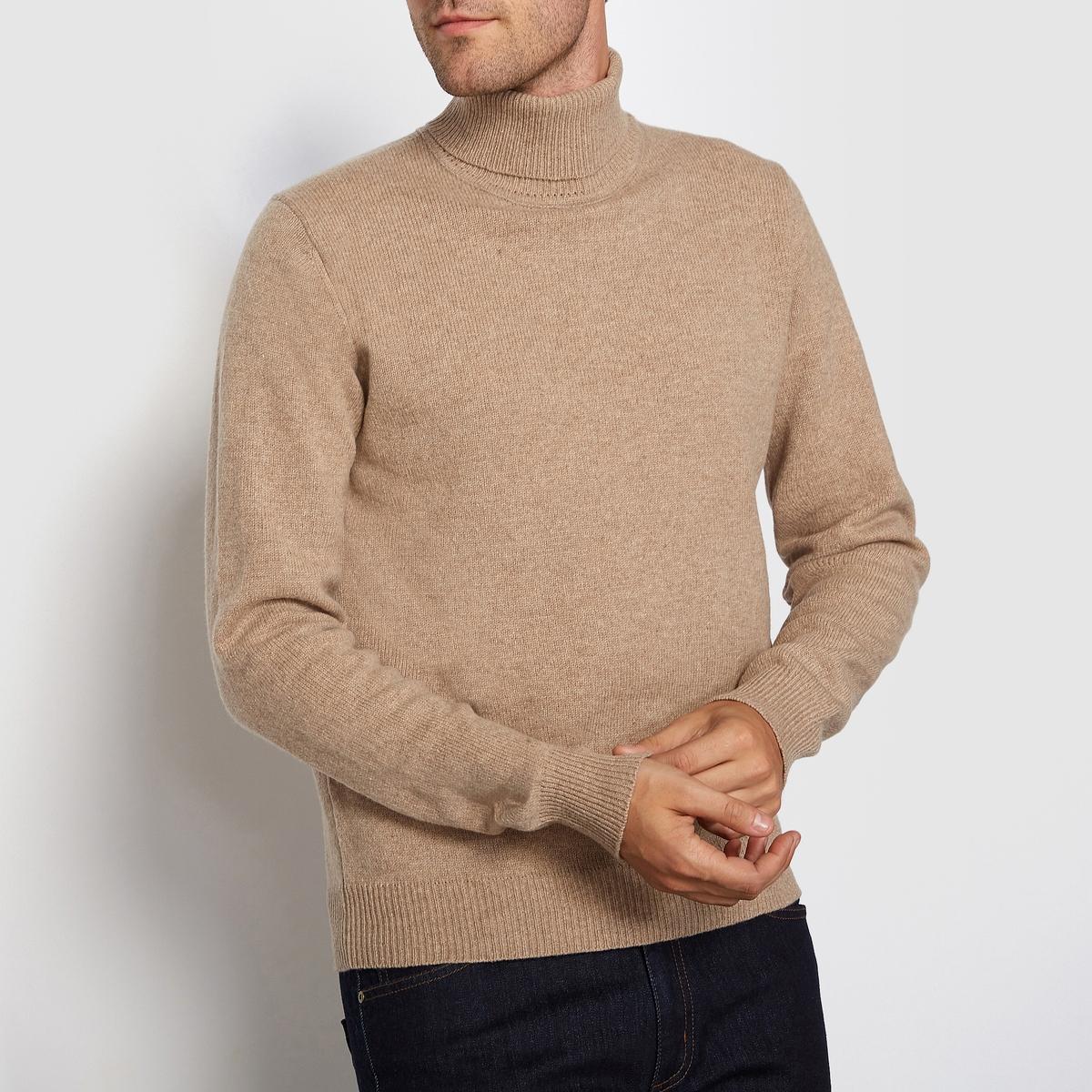 Пуловер с закатывающимся воротником 100% шерсть