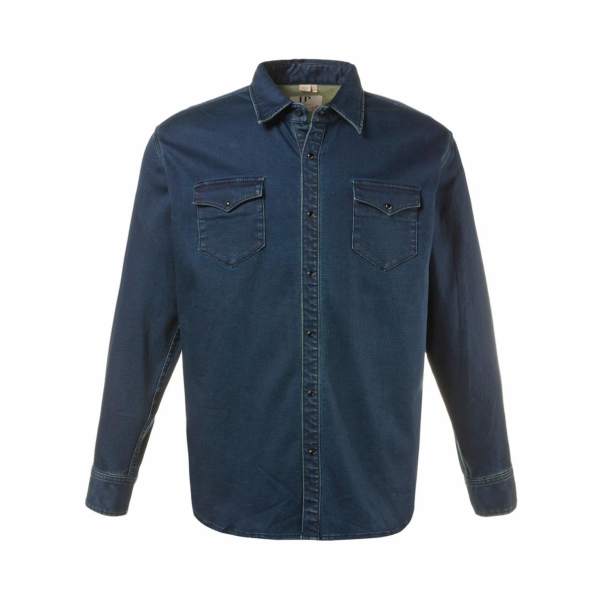 Рубашка из денимаПриталенный покрой, рубашку можно носить навыпуск. Длина в зависимости от размера 78-94 см<br><br>Цвет: синий<br>Размер: 4XL