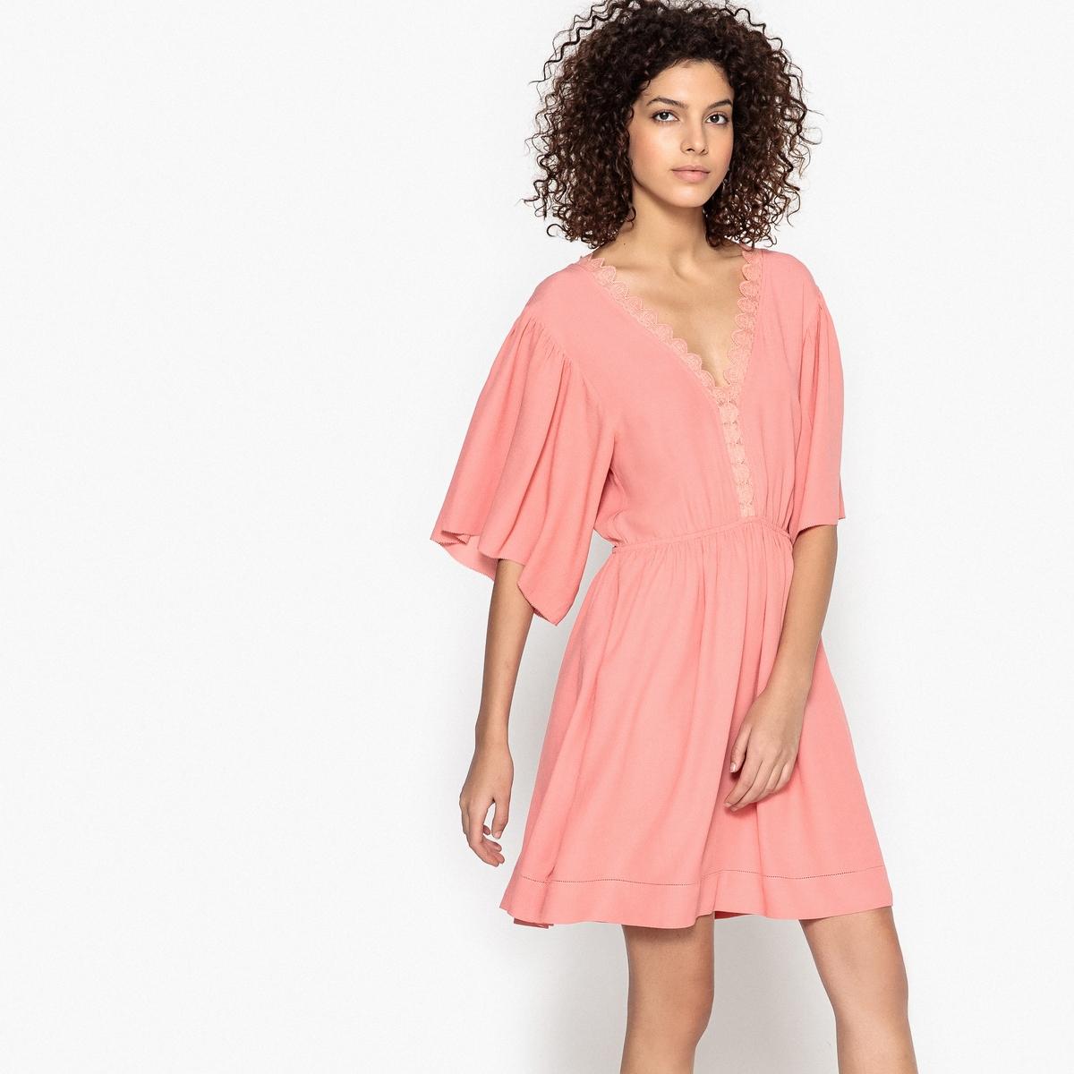 Платье короткое широкого кроя с V-образным декольте спереди и сзади джемпер glamorous an0764 р m int