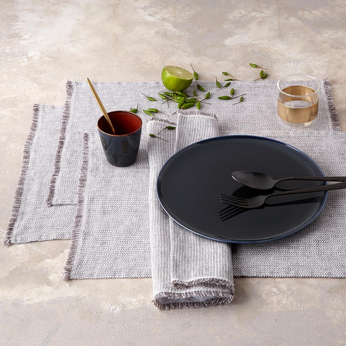 2 столовых полотенца из стиранного льна с зигзагами Ebinta