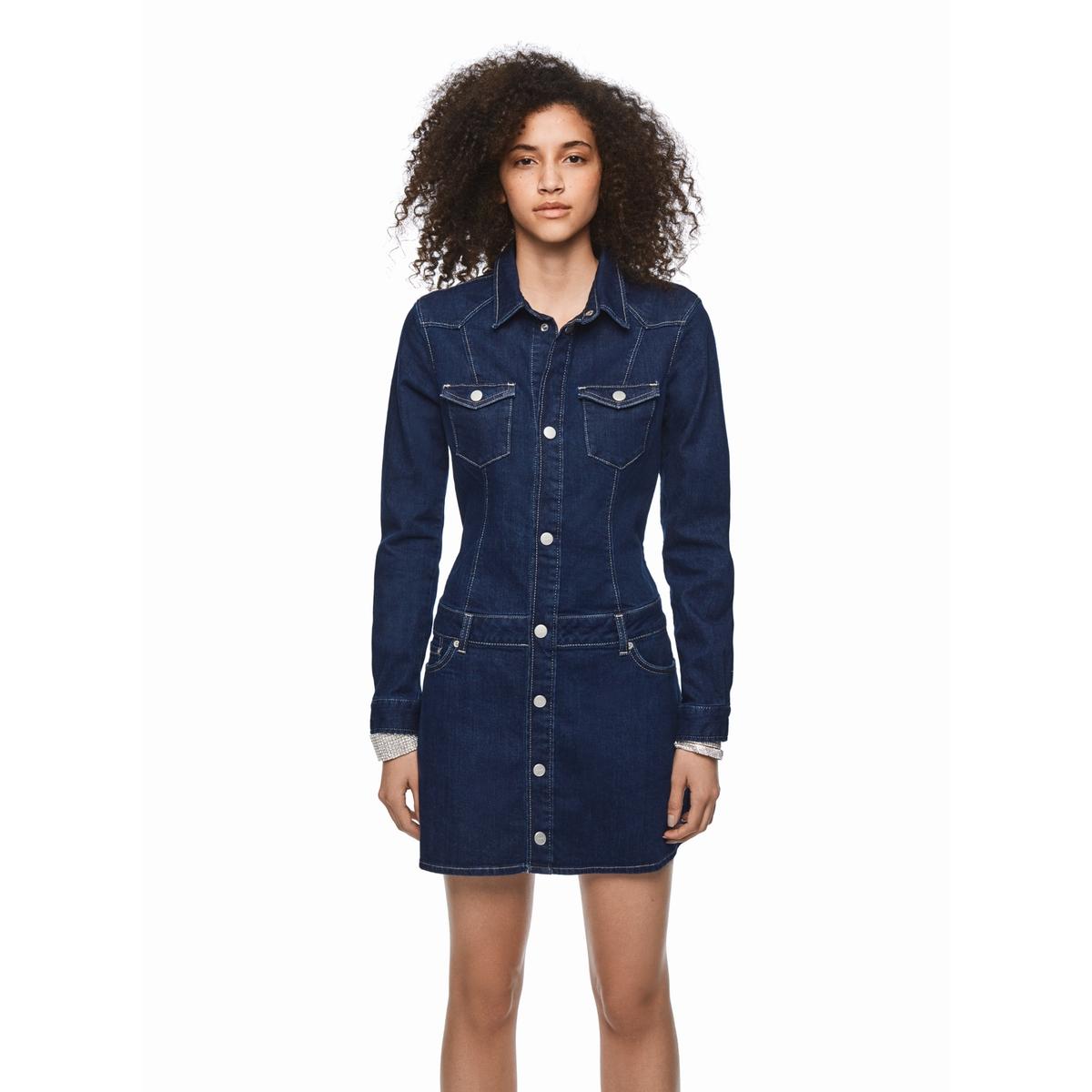 цена Платье La Redoute Короткое с длинными рукавами джинсовое XS синий в интернет-магазинах