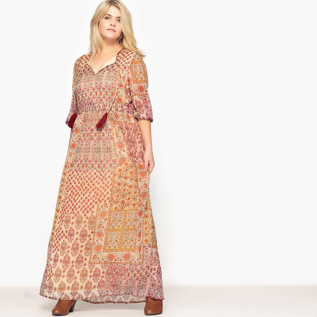 Платье длинное с рисунком и длинными рукавамиВам понравится это длинное платье с рисунком в богемном стиле. На пике модных тенденций. Можно носить в любое время года.Детали •  Форма : МАКСИ •  Длина ниже колен •  Длинные рукава    •   V-образный вырез •  Рисунок-принтСостав и уход •  100% полиэстер •  Подкладка : 100% полиэстер •  Температура стирки 30° на деликатном режиме   •  Сухая чистка и отбеливание запрещены •  Не использовать барабанную сушку   •  Низкая температура глажкиТовар из коллекции больших размеров<br><br>Цвет: рисунок пейсли<br>Размер: 56 (FR) - 62 (RUS).48 (FR) - 54 (RUS).42 (FR) - 48 (RUS)
