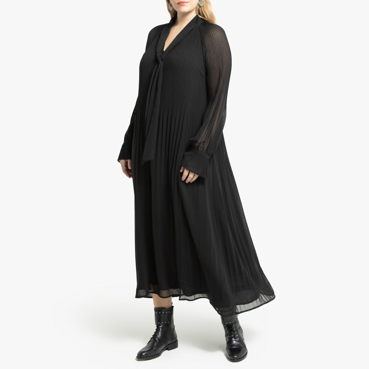 Платье La Redoute Длинное с галстуком-бантом и длинными рукавами 56 (FR) - 62 (RUS) черный