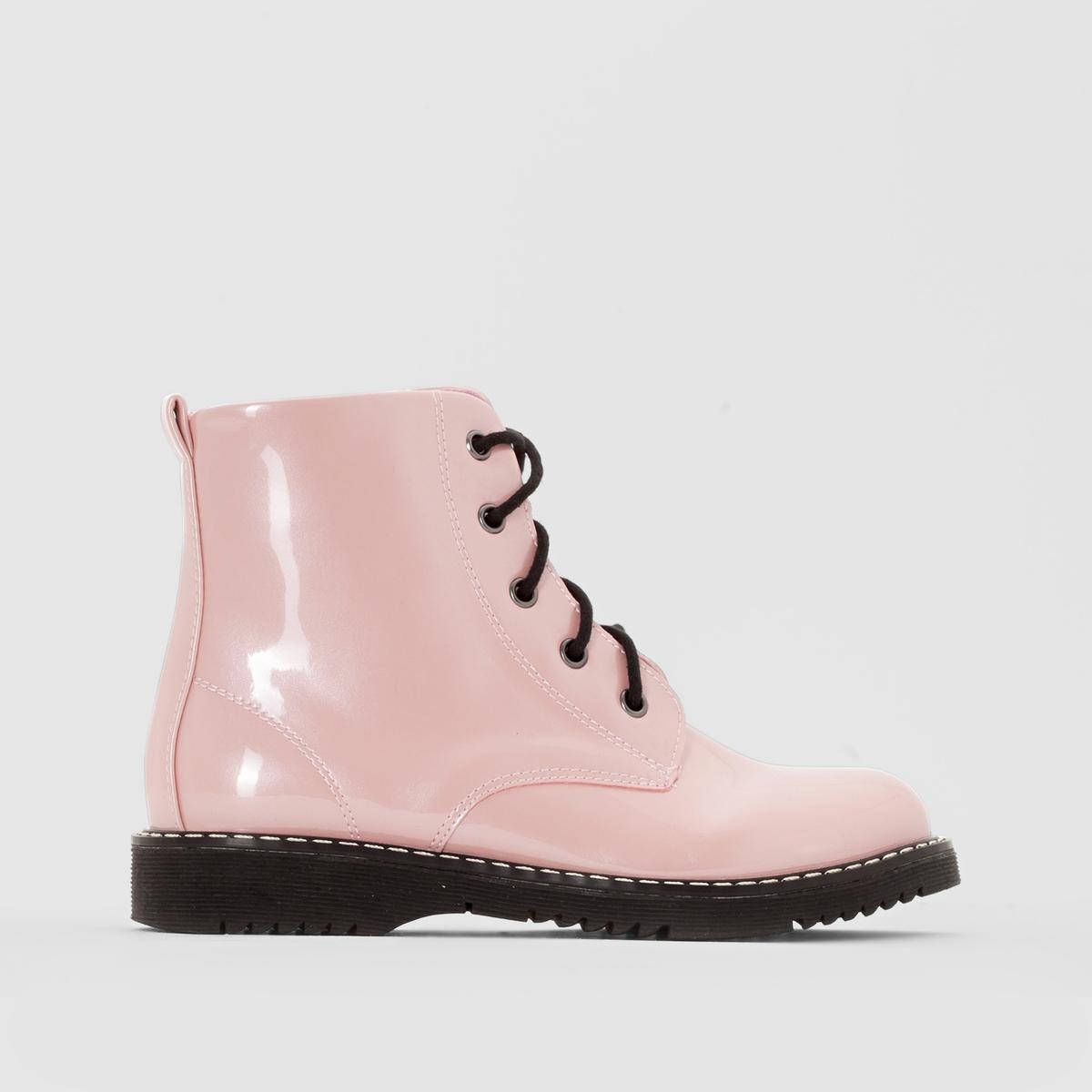 Ботинки лакированныеБотинки в бойцовском стиле из мягкого лакированного материала : обувь для постоянного ношения в школе и для прогулок !<br><br>Цвет: перламутрово-розовый<br>Размер: 38