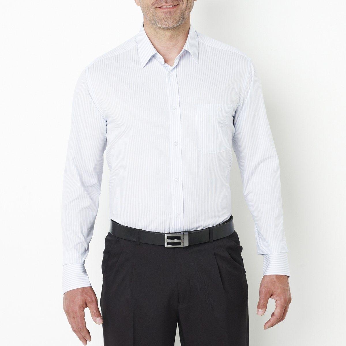 Рубашка, рост 2Товар из коллекции больших размеров. Красивый поплин, 100% хлопка. Складка сзади. Длинные рукава. Рост 2: на рост от 177 до 187 см. Длина 83 см. Длина рукавов 65 см. См.таблицу размеров Taillissime.<br><br>Цвет: в клетку малиновый,в полоску белый/синий<br>Размер: 41/42.55/56.53/54