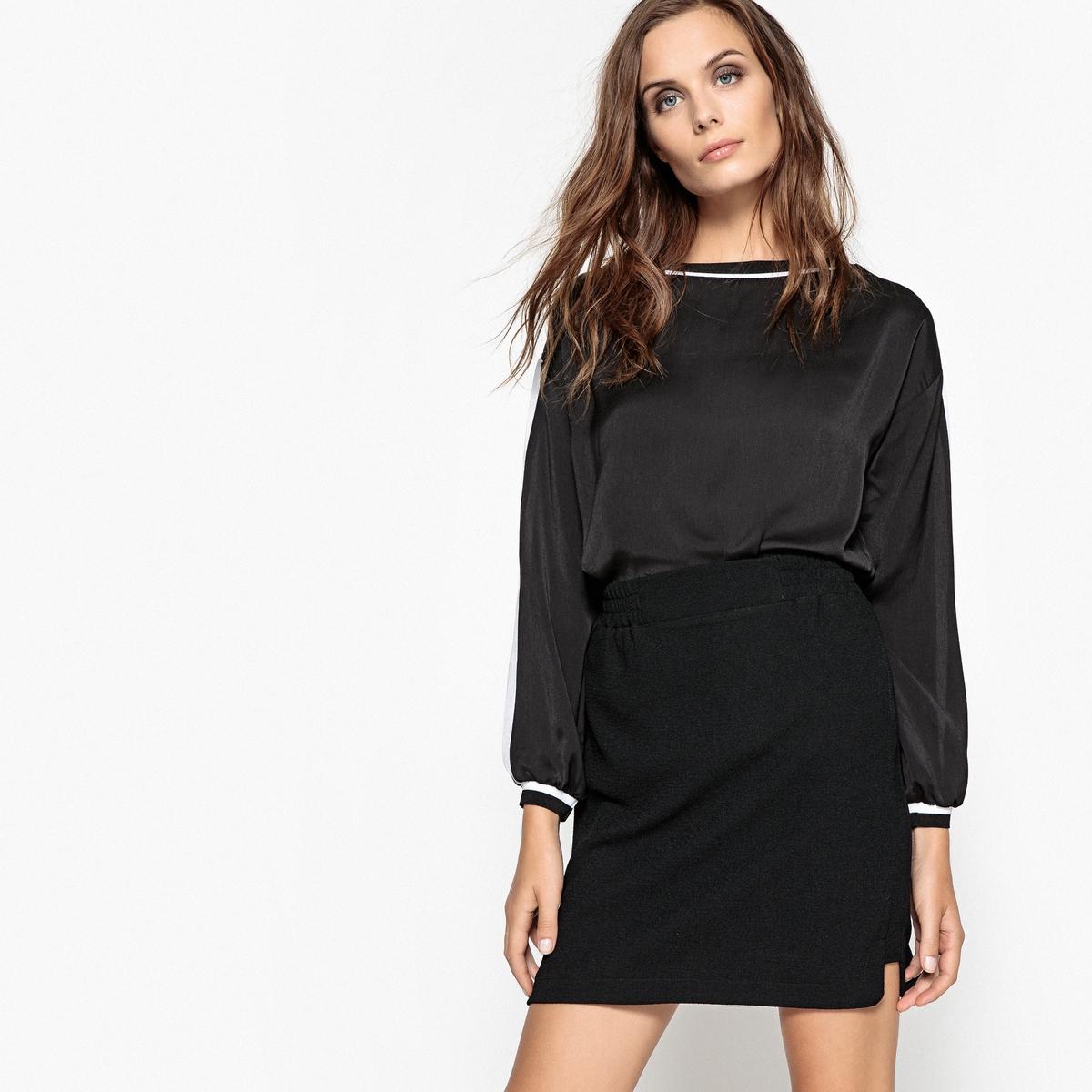 Блузка с напускными рукавами в контрастную полоску