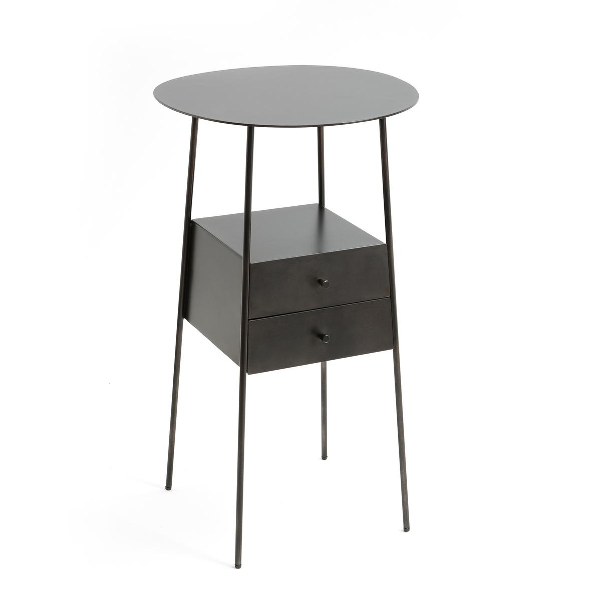 Столик прикроватный из металла, OsasunМеталлический прикроватный столик Osasun. Современная модель в авиационном стиле с состаренным эффектом. Описание :- Металл цвета серый металлик с покрытием эпоксидной краской- 2 ящика. - 2 столешницы (толщ. 2 мм)  Размеры :- ?37,5 x В66 см.Размеры и вес упаковки :- Ш.46 x В.76 x Г.46 см, 15,9 кг<br><br>Цвет: темно-серый металл