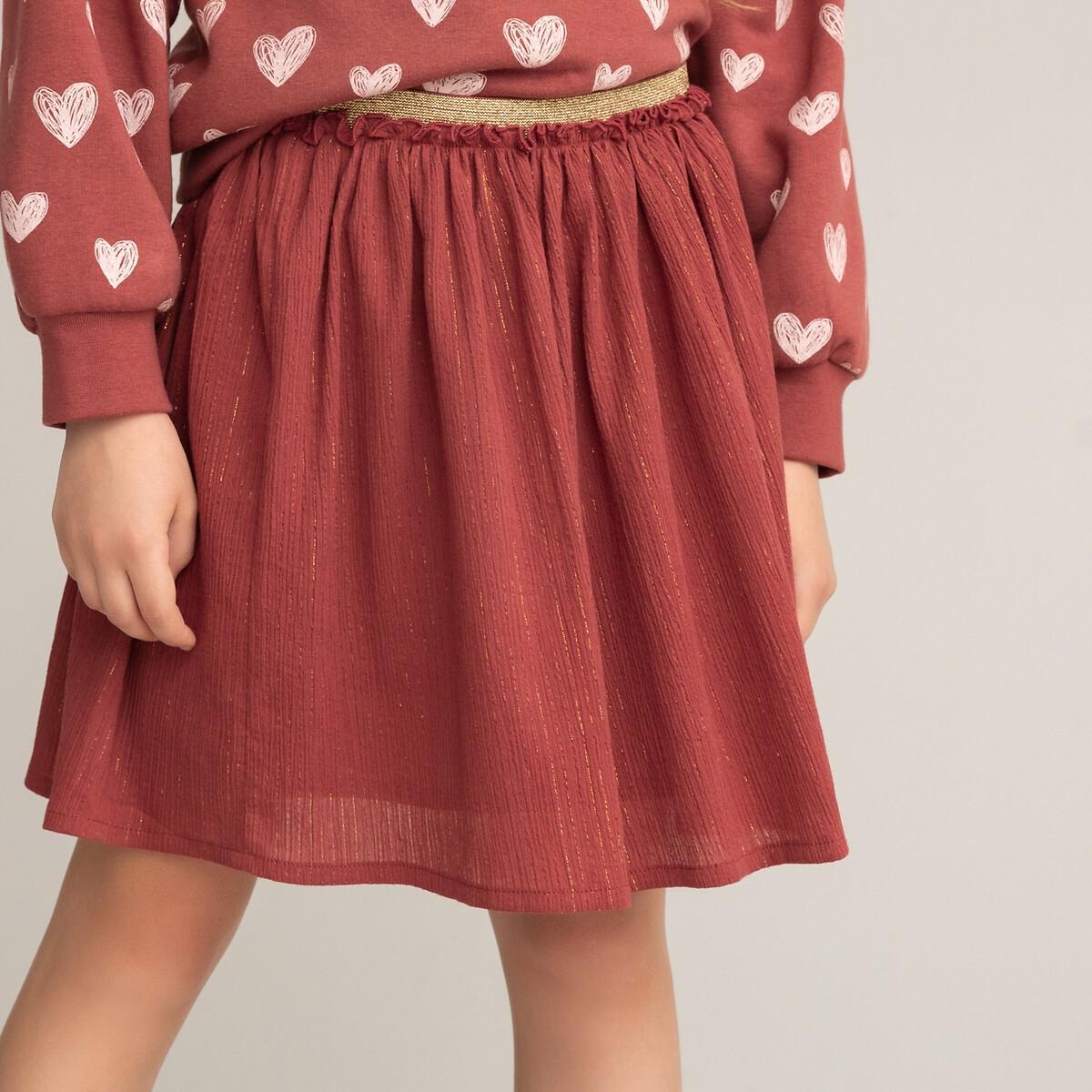 Фото - Юбка LaRedoute Короткая из хлопчатобумажной газовой ткани 3-12 лет 4 года - 102 см каштановый платье laredoute с короткими рукавами из хлопчатобумажной газовой ткани 3 12 лет 3 года 94 см розовый