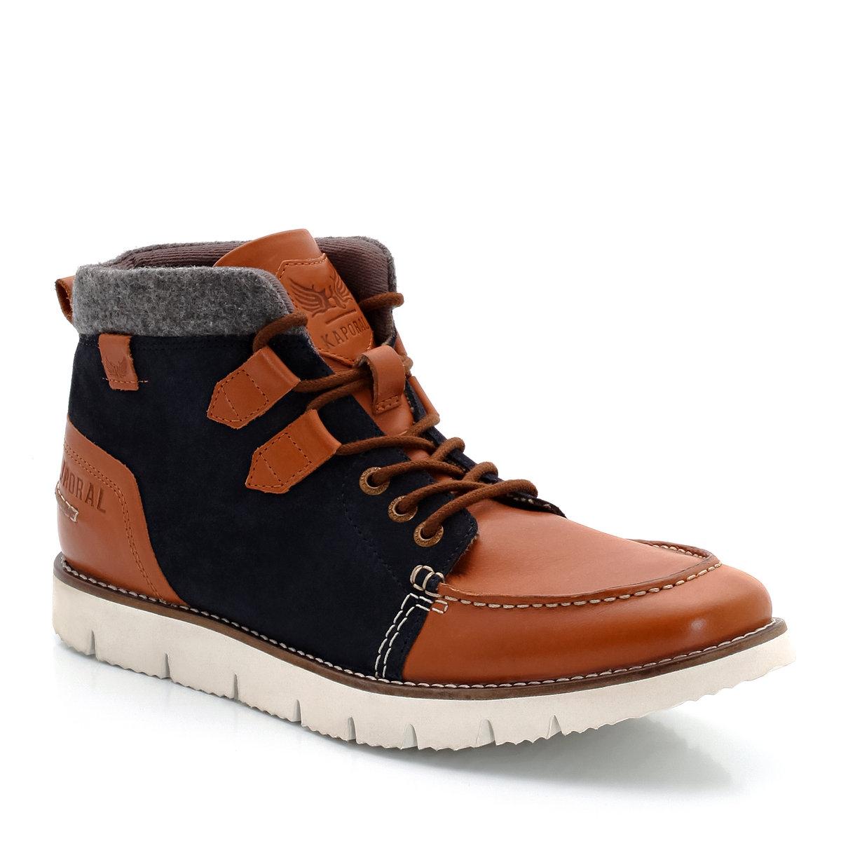 Ботинки из кожи и спилка на шнуркахМикс кожи и спилка, игра цветовых контрастов, небольшие модные отвороты: ботинки, трендовые и ультра стильные, в духе бренда Kaporal!<br><br>Цвет: темно-бежевый/темно-синий<br>Размер: 43