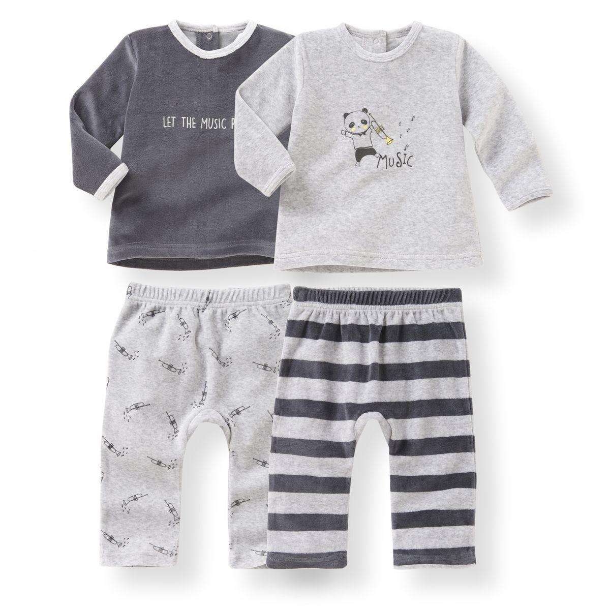 Pyjama 2 pièces velours 0 mois-3 ans (lot de 2)