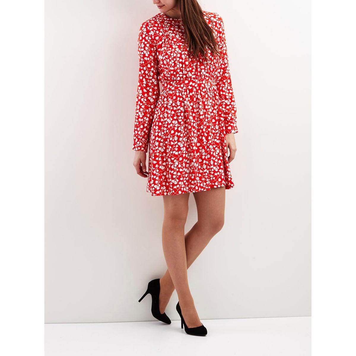 Фото Платье до колен из вискозы с длинными рукавами. Купить с доставкой