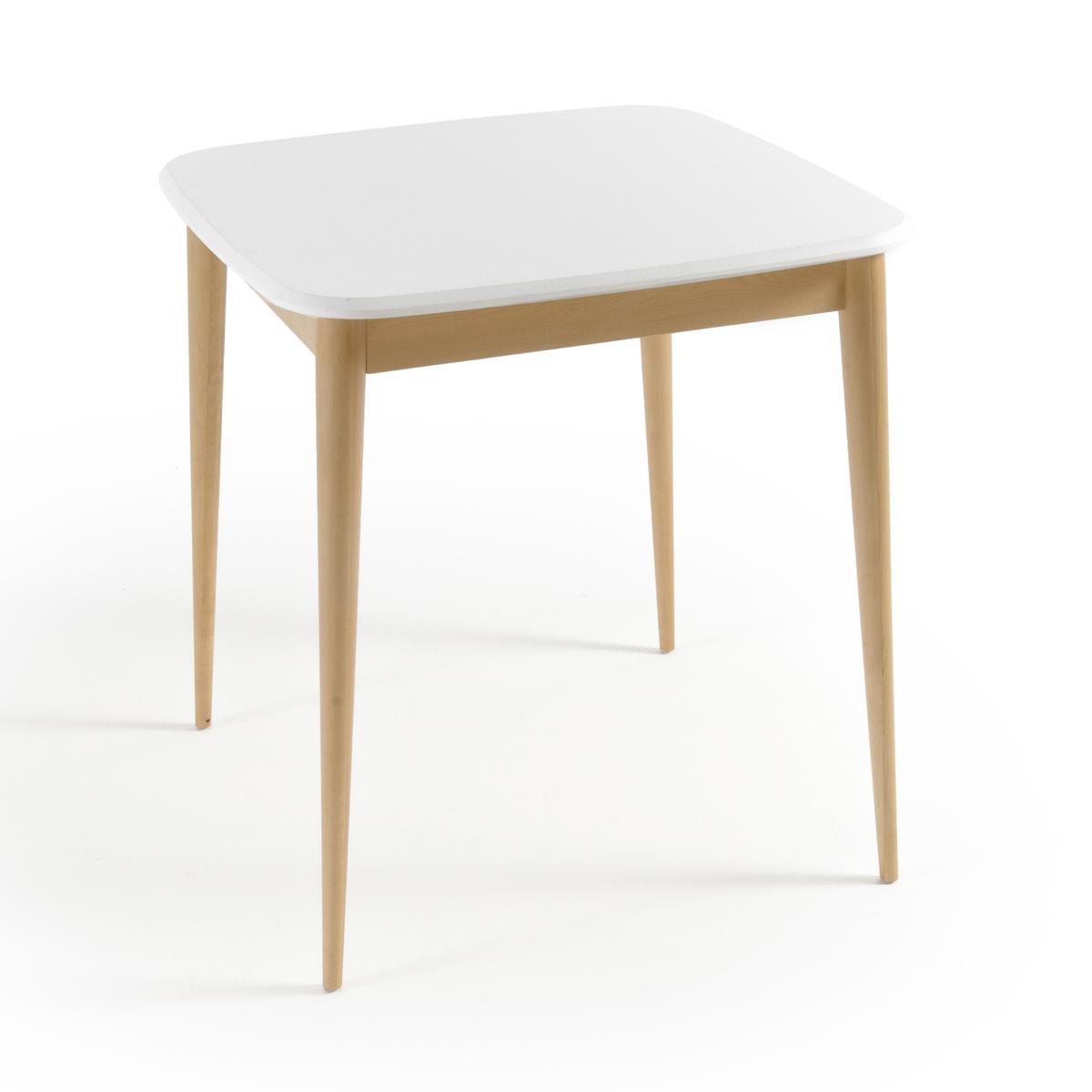 Стол обеденный на 2 персоны, JIMIОбеденный стол на 2 персоны Jimi. Идеальное решение для малогабаритных квартир, стол Jimi в скандинавском стиле формата бистро легко разместит 2 человек в комфортных условиях. Описание стола на 2 персоны Jimi :Столешница со скошенными краями.Пластиковые накладки на ножки..Характеристики стола на 2 персоны Jimi :Ножки и планка вокруг ножек из массива березы с лаковой нитроцеллюлозной отделкой.Столешница из МДФ с белым лаковым покрытием и лаковой полиуретановой отделкой.Для лучшего сохранения внешнего вида столешницы вашего стола мы рекомендуем не допускать ударов, которые могут вызвать появление микроцарапин. Настоятельно рекомендуем использовать подставки под тарелки и стаканы.Всю коллекцию Jimi вы можете найти на сайте laredoute.ru.Размеры стола Jimi :ОбщиеШирина : 70 смВысота : 75 смГлубина : 70 смРазмеры и вес ящика :1 упаковка Ш.83 x В.14 x Г.80,5 см14 кгДоставка на дом :Стол на 2 персоны Jimi продается готовым к сборке . Доставка осуществляется до квартиры  по предварительному согласовани!Внимание ! Убедитесь, что дверные, лестничные и лифтовые проемы позволяют осущетвить доставку коробки таких габаритов.<br><br>Цвет: белый