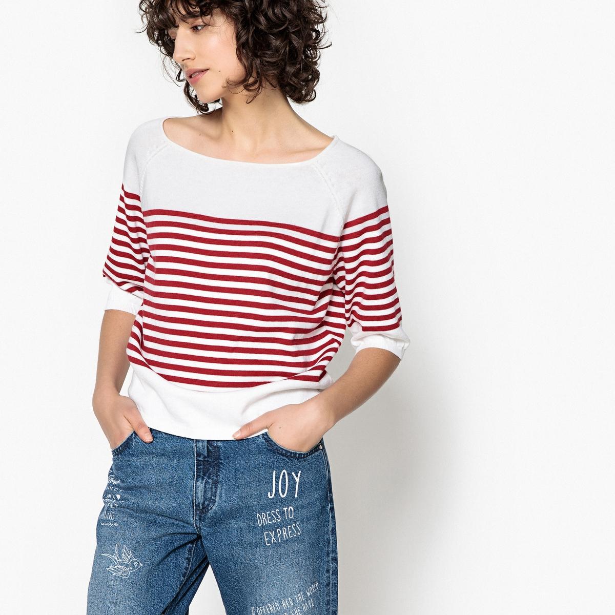 Пуловер в морском стиле с вырезом-лодочкой