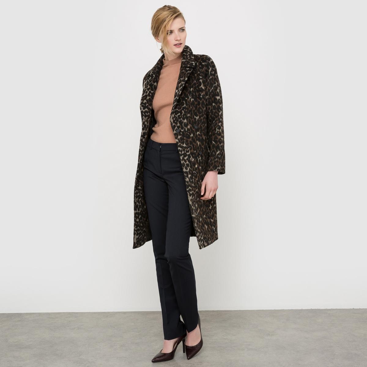 Пальто с леопардовым принтом, 35% шерсти пальто с леопардовым принтом 30% шерсти