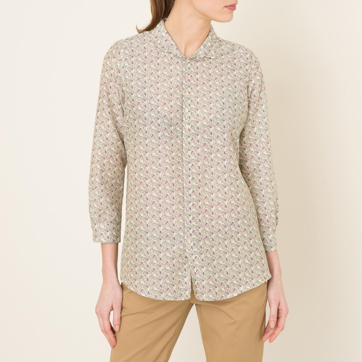 Рубашка CANNOLOРубашка MOMONI - модель CANNOLO с принтом на ткани из хлопка и шелка . Рубашечный воротник со свободными уголками  . Застежка на пуговицы. Длинные рукава, манжеты с застежкой на пуговицу. Закругленный низ, покрой-трапеция .Состав и описание    Материал : 80% хлопка, 20% шелка   Марка : MOMONI<br><br>Цвет: наб. рисунок/ розовый