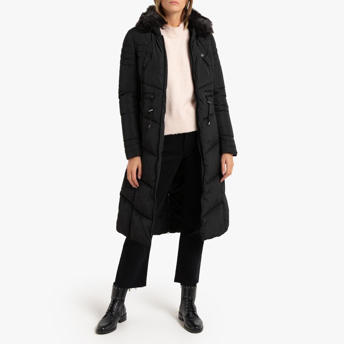 Куртка La Redoute Стеганая длинная с капюшоном и воротником из искусственного меха S черный