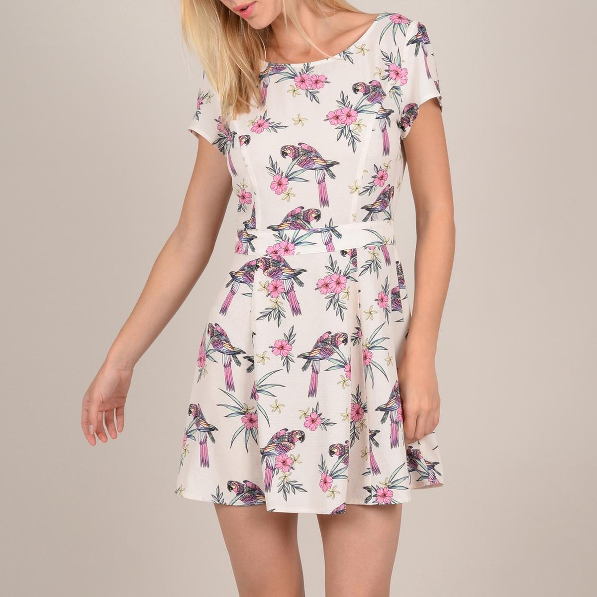 Платье La Redoute С цветочным рисунком открытой спинкой и короткими рукавами M белый candy girl платье голубое с открытой спинкой