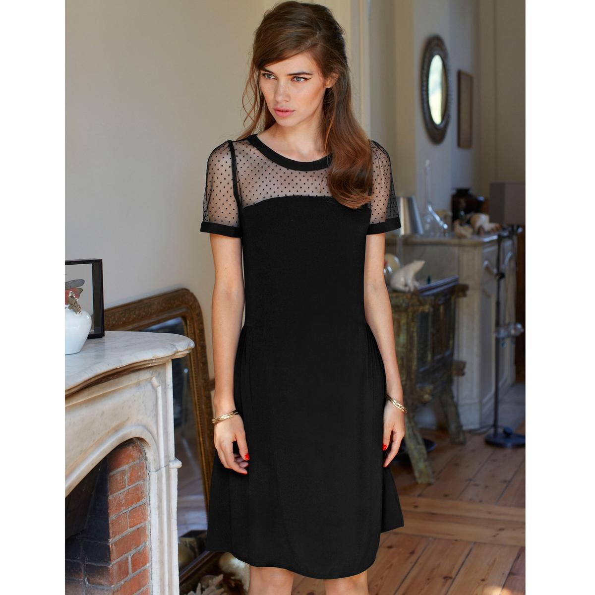 Платье со вставками из тюля<br><br>Цвет: черный<br>Размер: 36 (FR) - 42 (RUS)
