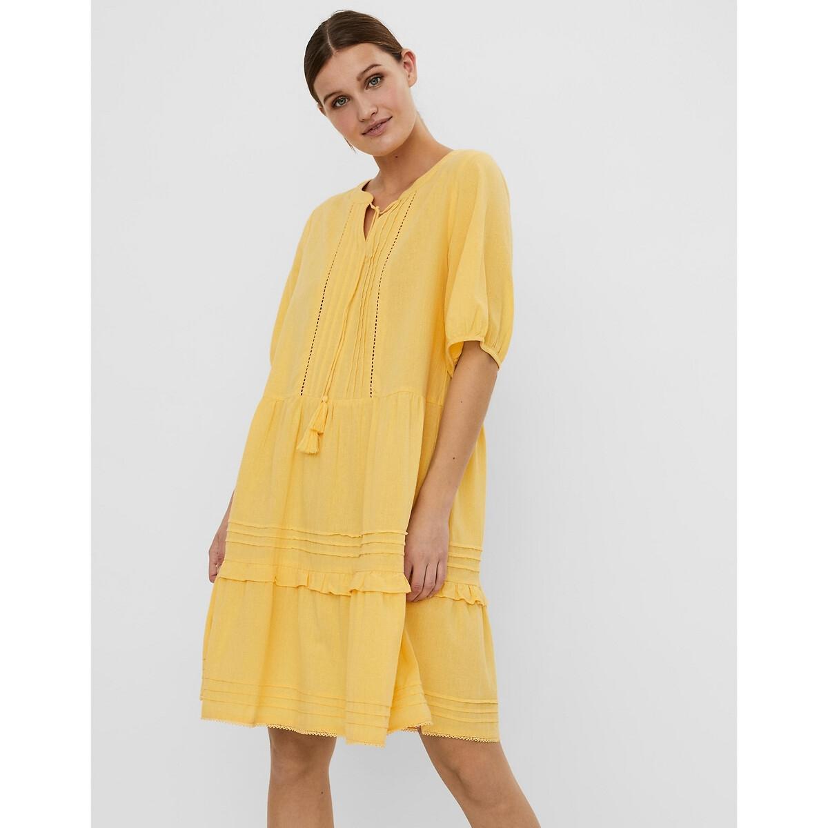 Платье LaRedoute Расклешенное рукава 34 XS желтый