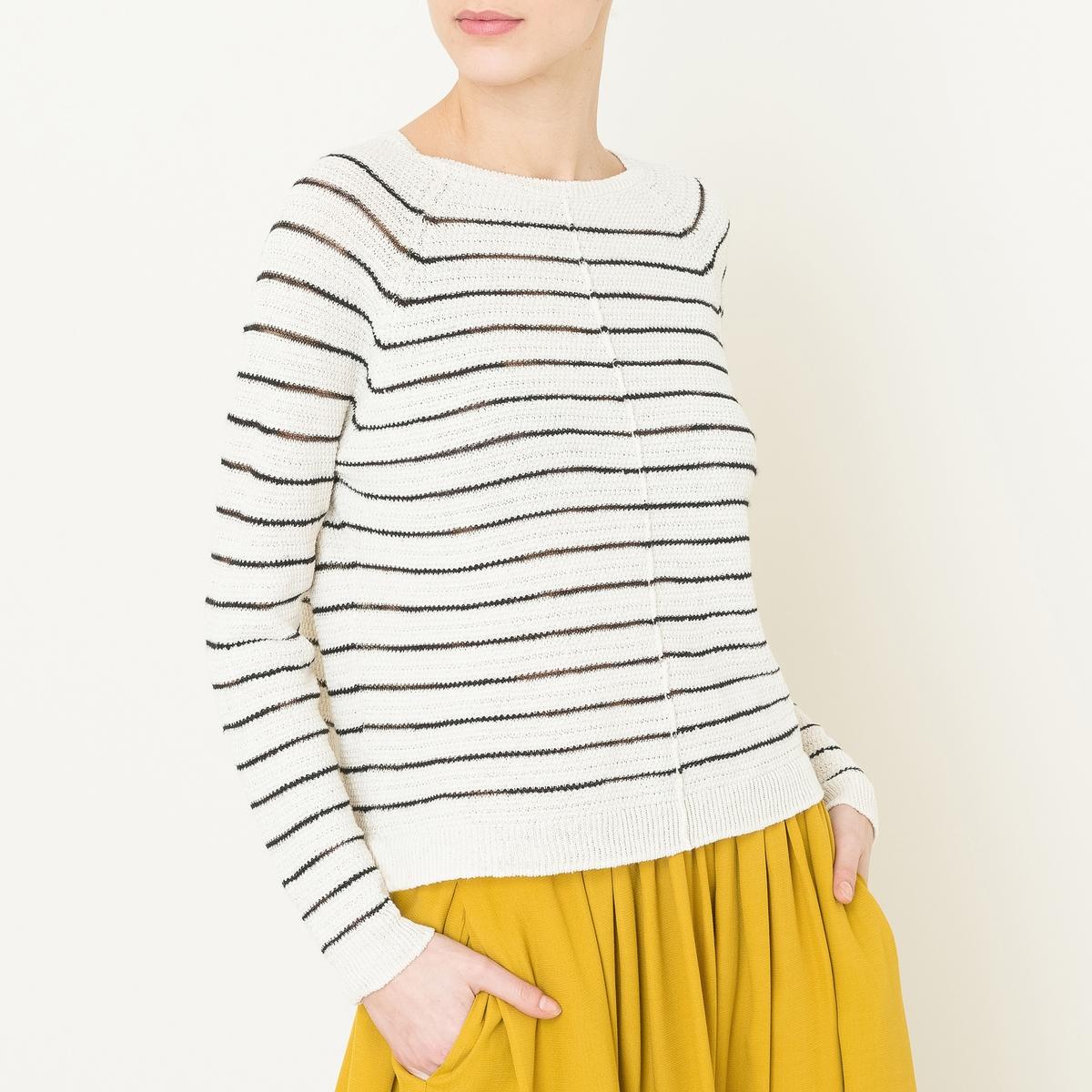 Пуловер в полоску с круглым вырезомСостав и описание   Материал : 58% льна, 39% вискозы, 3% полиэстераМарка : POMANDERE<br><br>Цвет: экрю