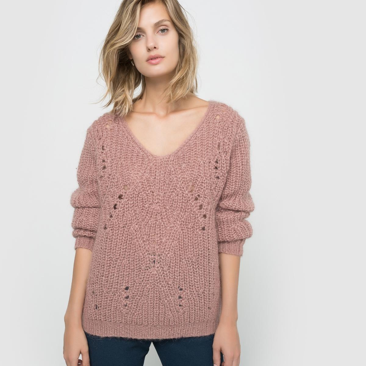 Фото - Пуловер с V-образным воротником пуловер из вязаного трикотажа с v образным воротником