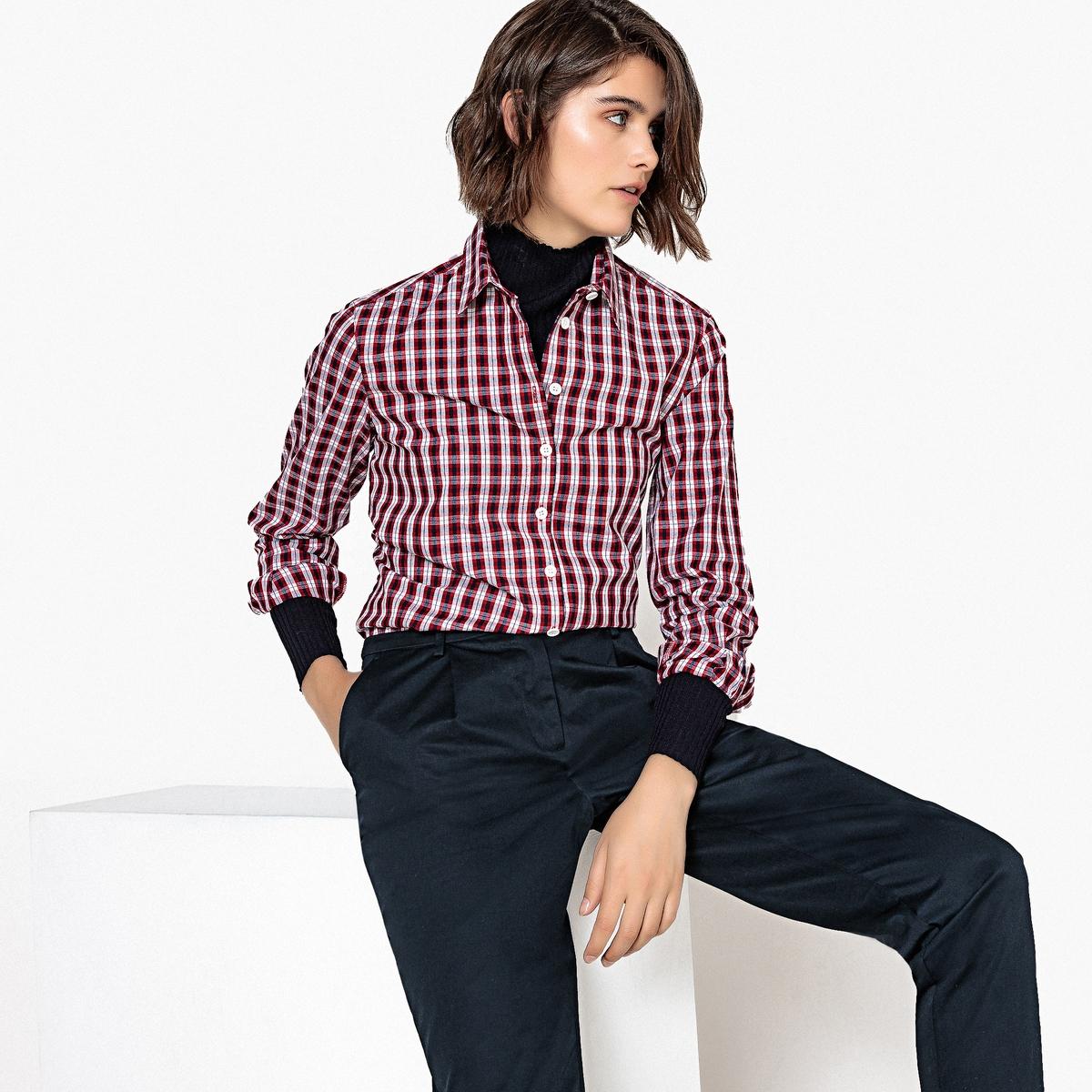 Camisa estampada aos quadrados, mangas compridas