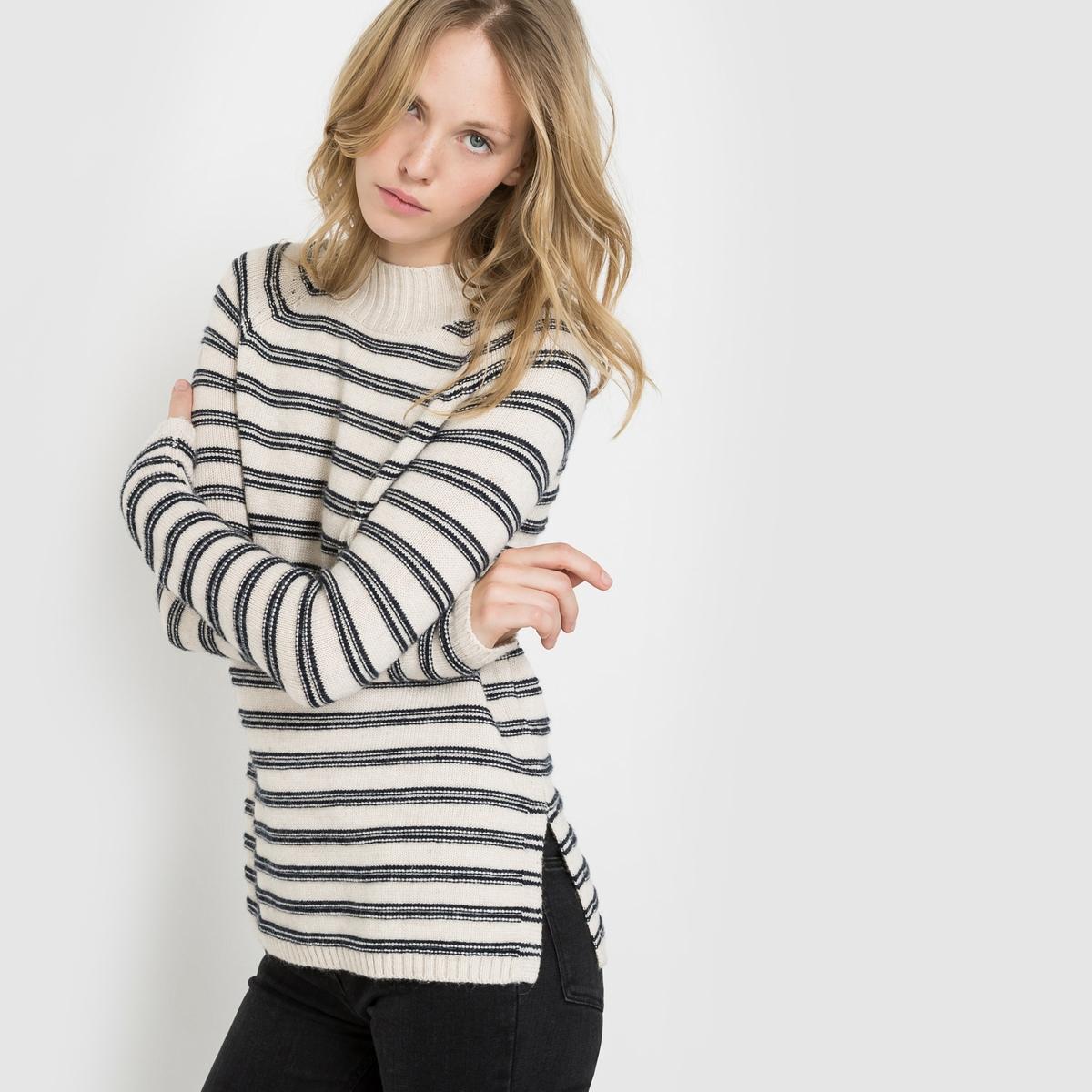 Пуловер с высоким матросским воротником