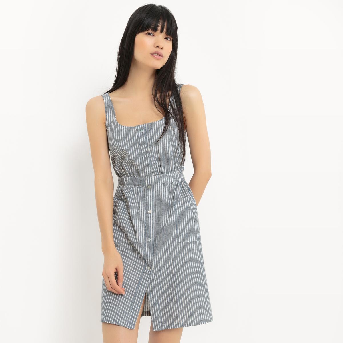 Платье-фартук из хлопка и льна платье длинное из льна и хлопка
