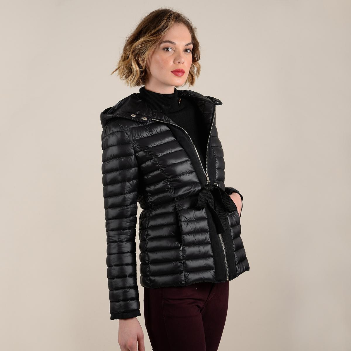 Куртка La Redoute Стеганая короткая с капюшоном и ремешком XL черный