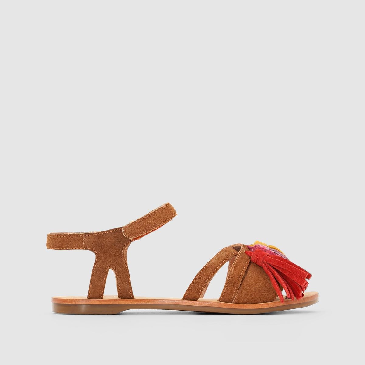 Босоножки кожаныеОписание:Детали   •  Плоский каблук •  Застежка : планка-велкро •  Открытый мысокСостав и уход  •  Верх 100% спилок •  Подкладка 100% кожа<br><br>Цвет: темно-бежевый<br>Размер: 26