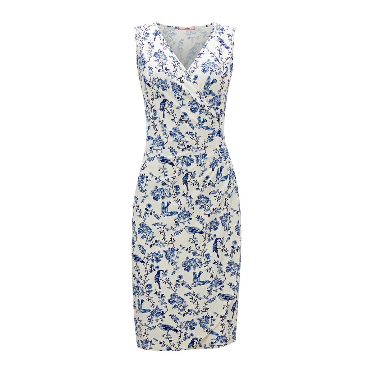 Платье-миди La Redoute С запахом и цветочным рисунком 42 (FR) - 48 (RUS) синий стоимость