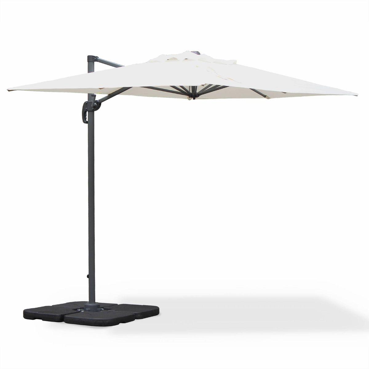 Parasol déporté rectangulaire Biscarosse 2x3m Ecru excentré inclinable rotatif à 360°