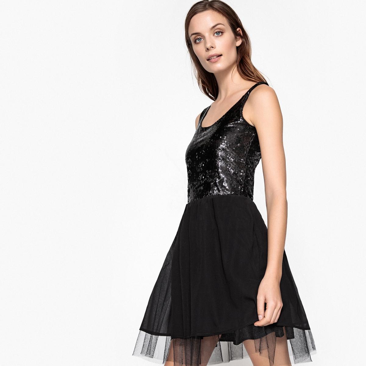 Платье расклешенное, верх с блестками, низ из вуали в виде юбки