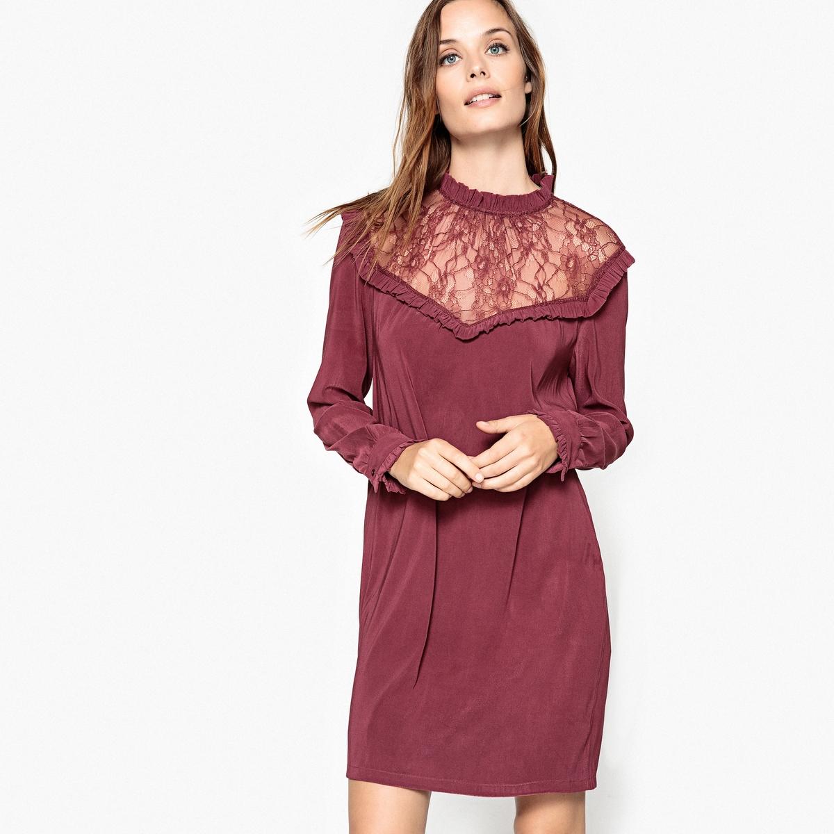 Платье однотонное короткого и расклешенного покроя с длинными рукавамиДетали •  Форма : расклешенная •  Укороченная модель •  Длинные рукава    •  Воротник-стойкаСостав и уход •  8% эластана, 92% полиэстера •  Следуйте советам по уходу, указанным на этикетке<br><br>Цвет: бордовый<br>Размер: L.S.M