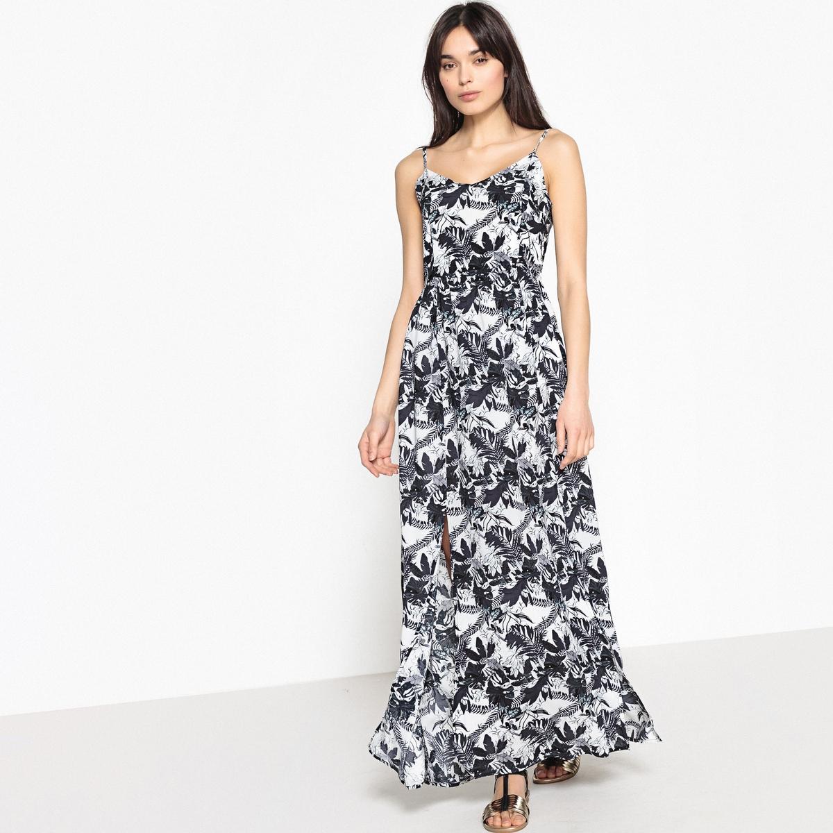 Платье длинное с цветочным рисунком на тонких бретелях