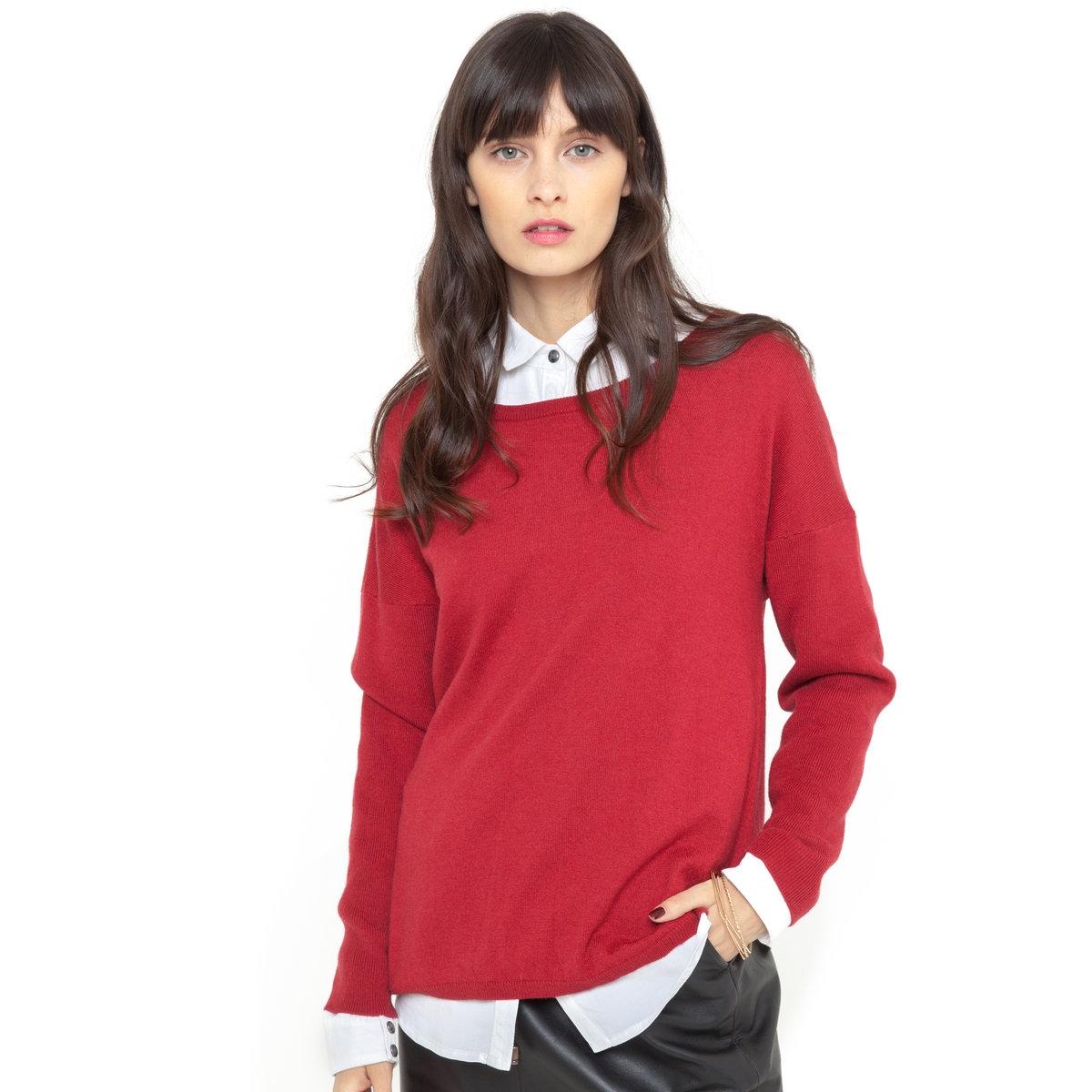 Пуловер свободного покрояПуловер свободного покроя.  Эффект запаха сзади. Длинные рукава. 50% вискозы, 40% полиамида, 10% шерсти. Длина ок.48 см.<br><br>Цвет: красный карминный,слоновая кость<br>Размер: 46/48 (FR) - 52/54 (RUS)