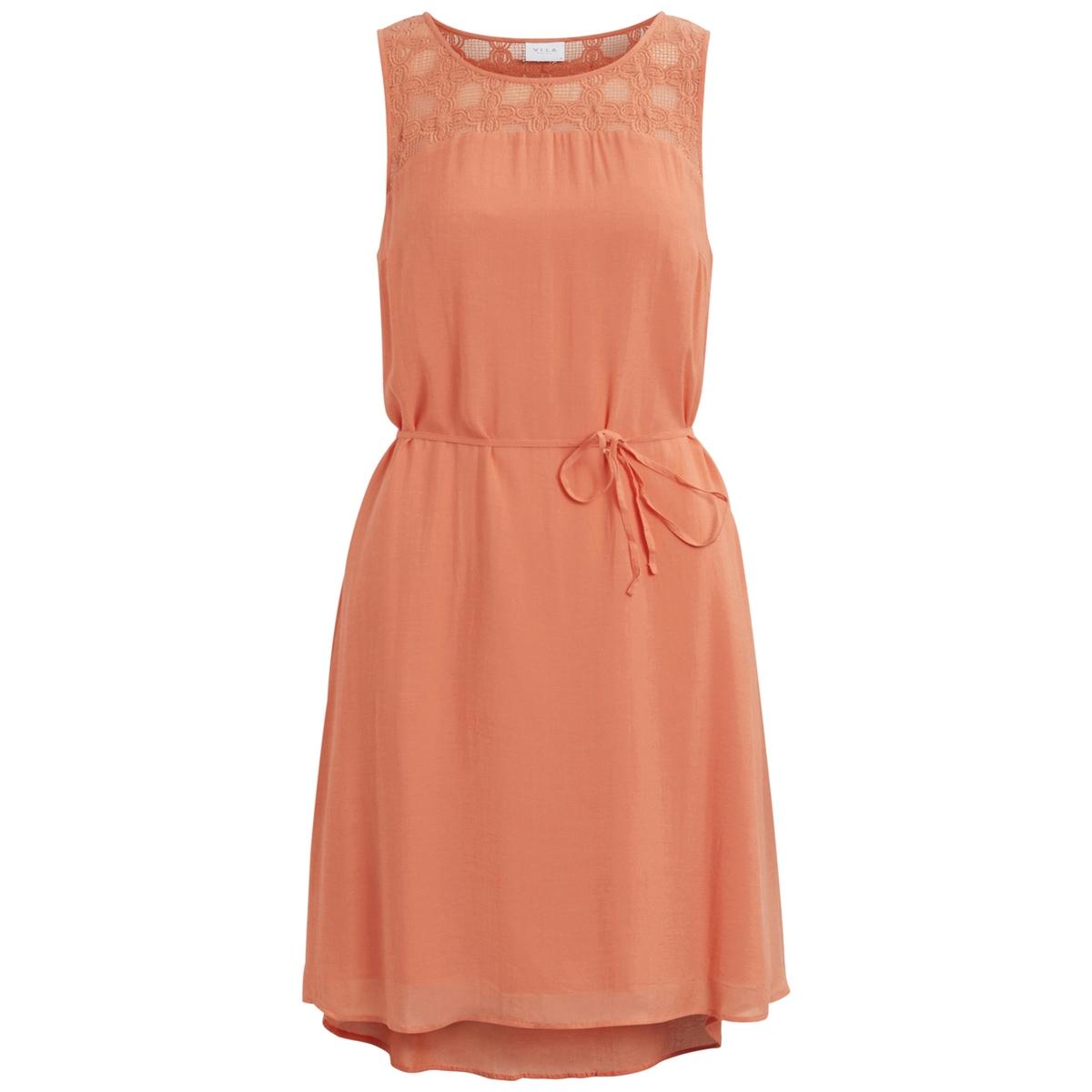 Платье короткое, без рукавовДетали •  Форма : расклешенная •  короткое   •  Без рукавов     •  Круглый вырезСостав и уход •  100% вискоза   •  Следуйте советам по уходу, указанным на этикетке<br><br>Цвет: оранжевый