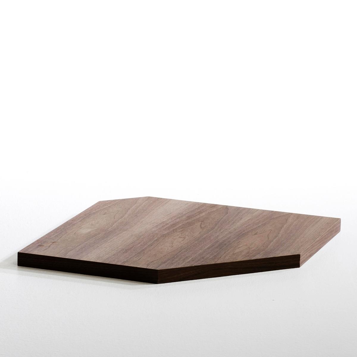 Угловая полка Kyriel для гардеробнойХарактеристики :- Из МДФ с покрытием ПУ лаком или отделкой под орех- Крепится к опоре благодаря кронштейнам угловой этажерки.Размеры :- 63 x 3,5 x 63 см Размеры и вес упаковки :- 73,6 x 10 x 71 см, 5,21 кг<br><br>Цвет: ореховый