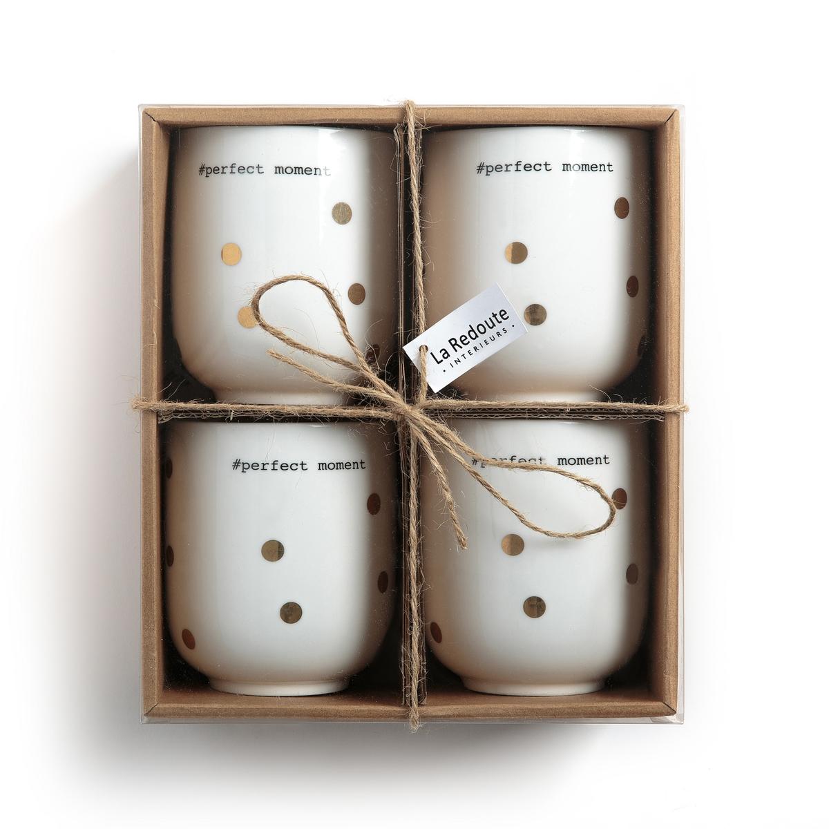 4 чашки для травяного чая из фарфора, Kubler4 чашки для травяного чая из фарфора Kubler, La redoute Int?rieurs. Праздничный рисунок в золотистый горох и надпись #perfect moment.                                               Характеристики 4 чашек для травяного чая из фарфора Kubler:- Чайные чашки из фарфора- Диаметр: 8 см- Высота: 9,5 см- Объем: 360 мл - Рекомендовано мыть вручную .- Не подходят для микроволновой печи- Продаются в комплекте из 4 штук Найдите коллекцию из фарфора Kubler на нашем сайте.<br><br>Цвет: в горошек