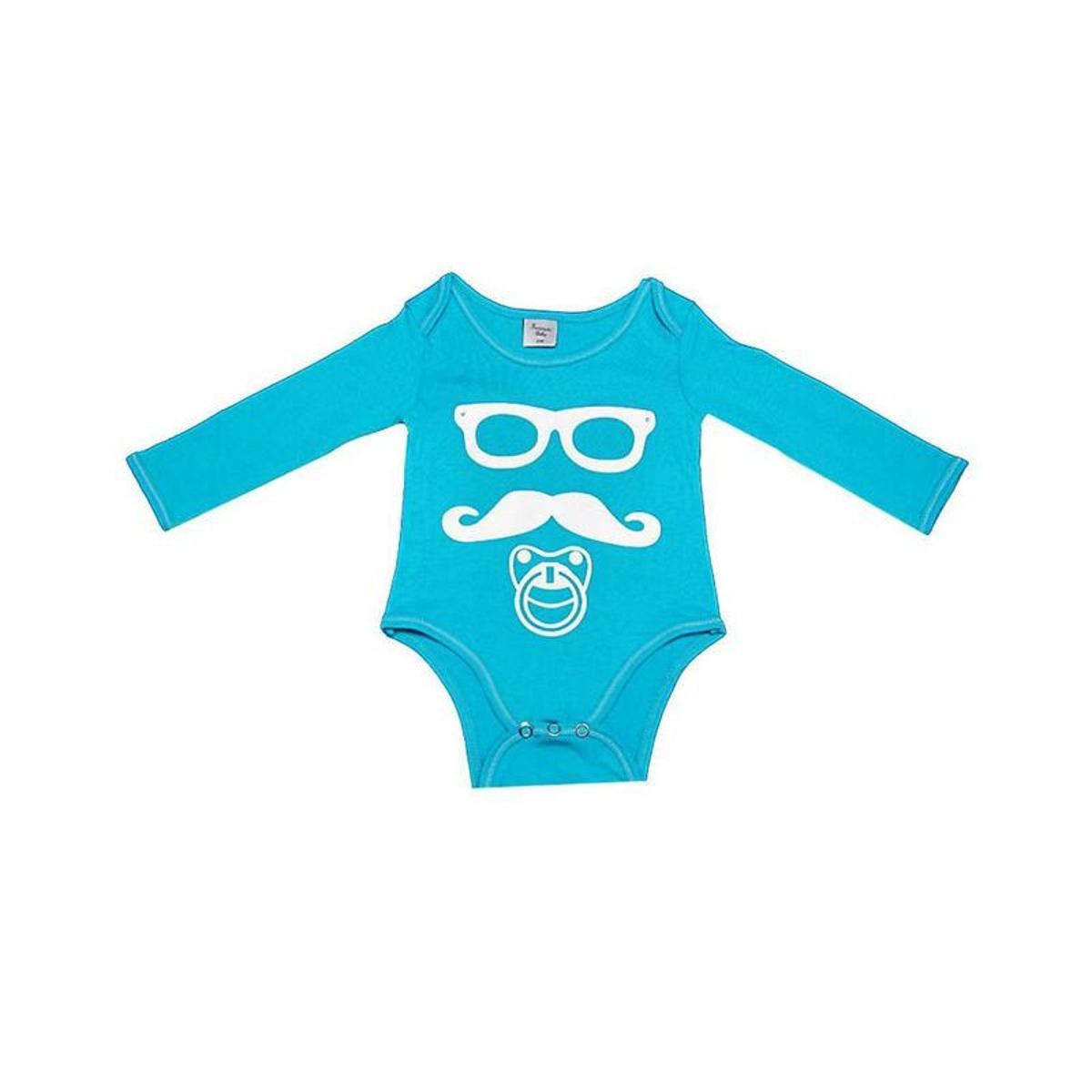 Body bébé Moustache 18 mois, bleu