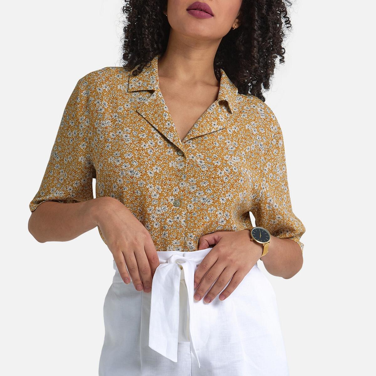 Рубашка La Redoute С короткими рукавами и цветочным принтом 36 (FR) - 42 (RUS) желтый кеды сникеры la redoute с крокодиловым принтом 38 желтый