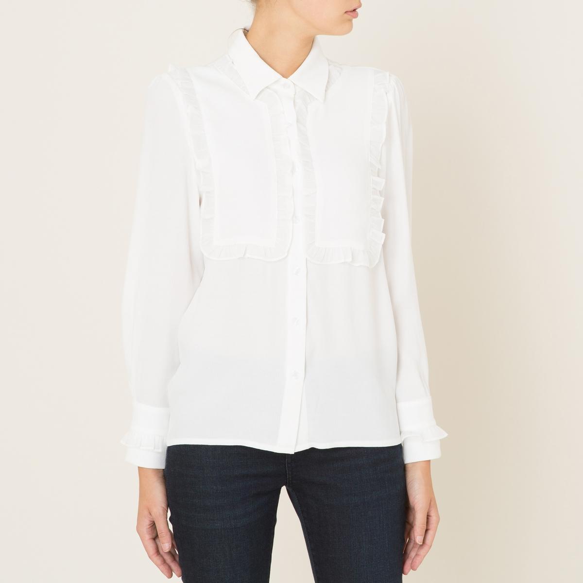Рубашка с воланамиСостав и описание    Материал : 100% полиэстер   Марка : SISTER JANE<br><br>Цвет: слоновая кость<br>Размер: M