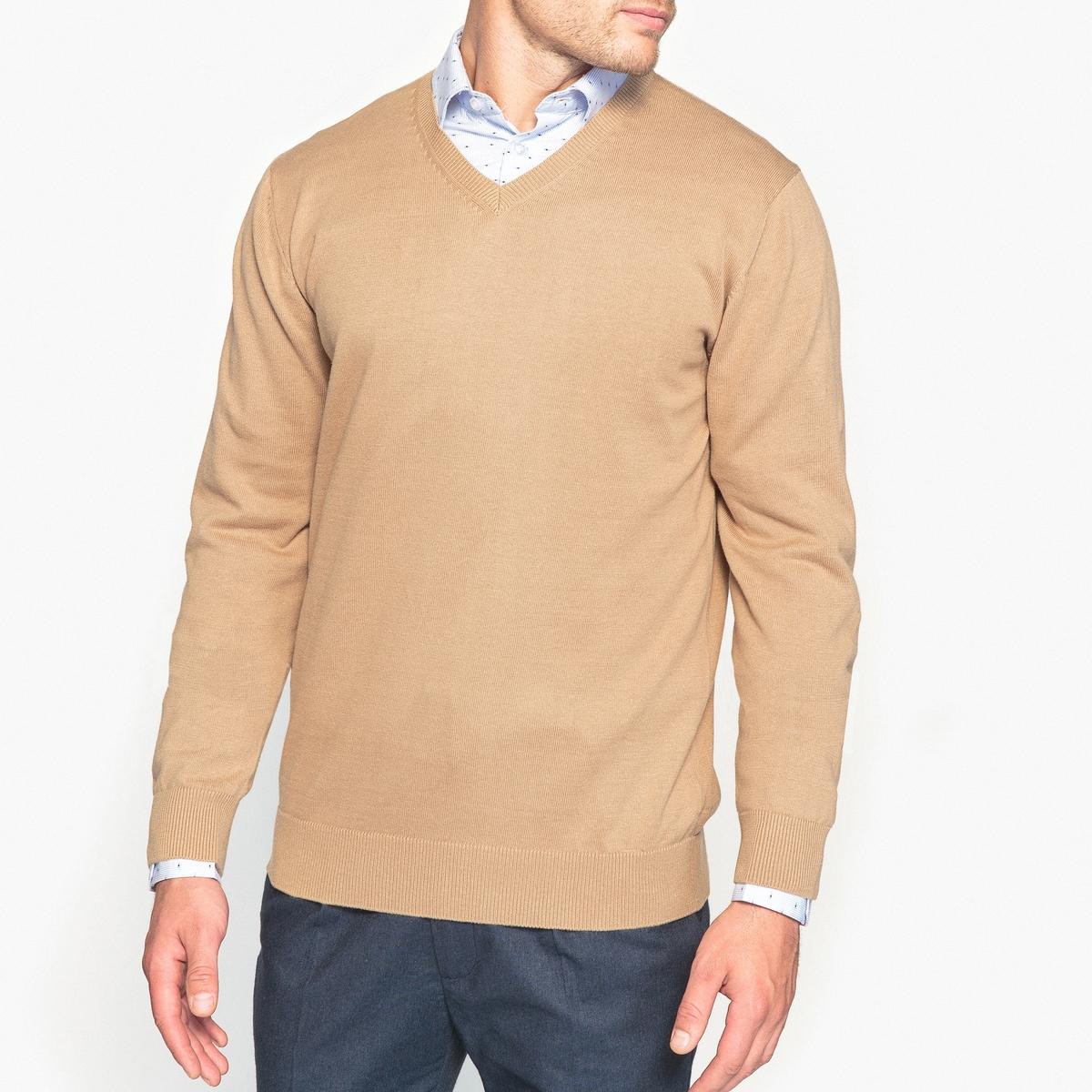 Пуловер с V-образным вырезом, 100% хлопка