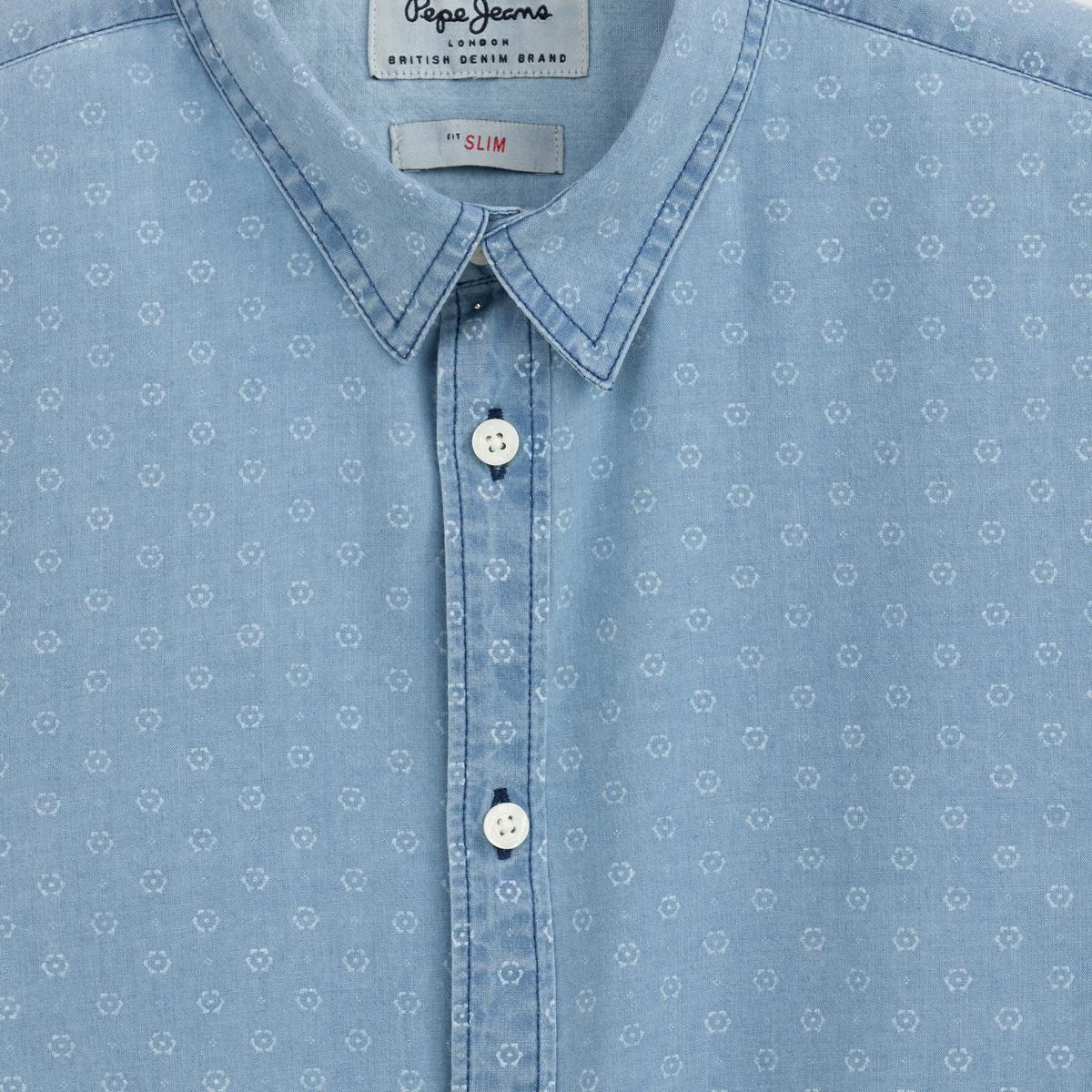 Рубашка с длинными рукавами CAUFIELDРубашка CAUFIELD de PEPE JEANS®        Длинные рукава .                   Мелкий рисунок на легком дениме, 100% хлопка. Воротник с уголками.<br><br>Цвет: светлый индиго