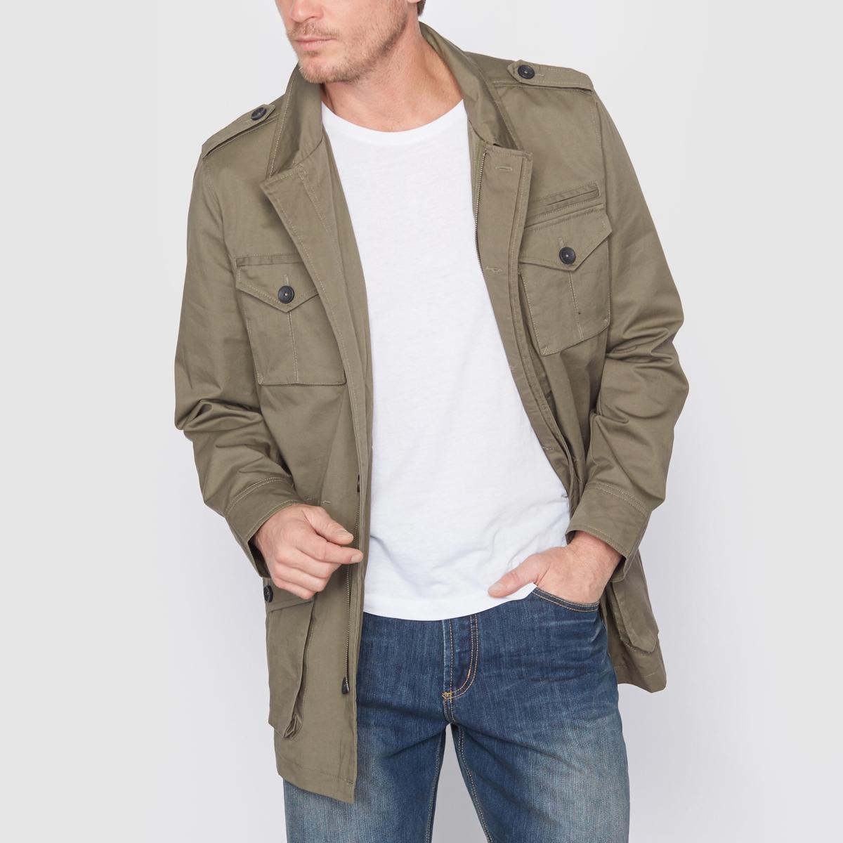 Куртка в стиле милитариСостав и описание :Материал : плотный текстиль, 100% хлопок, на подкладке из 100% хлопка. Длина : 83 см.    Марка : CASTALUNA FOR MEN<br><br>Цвет: хаки