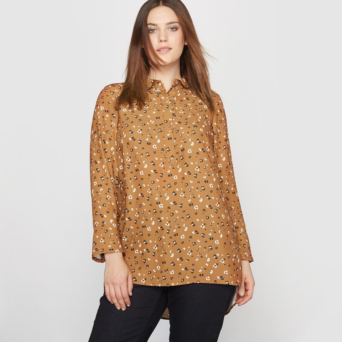 Блузка с длинными рукавами и закругленным отложным воротником
