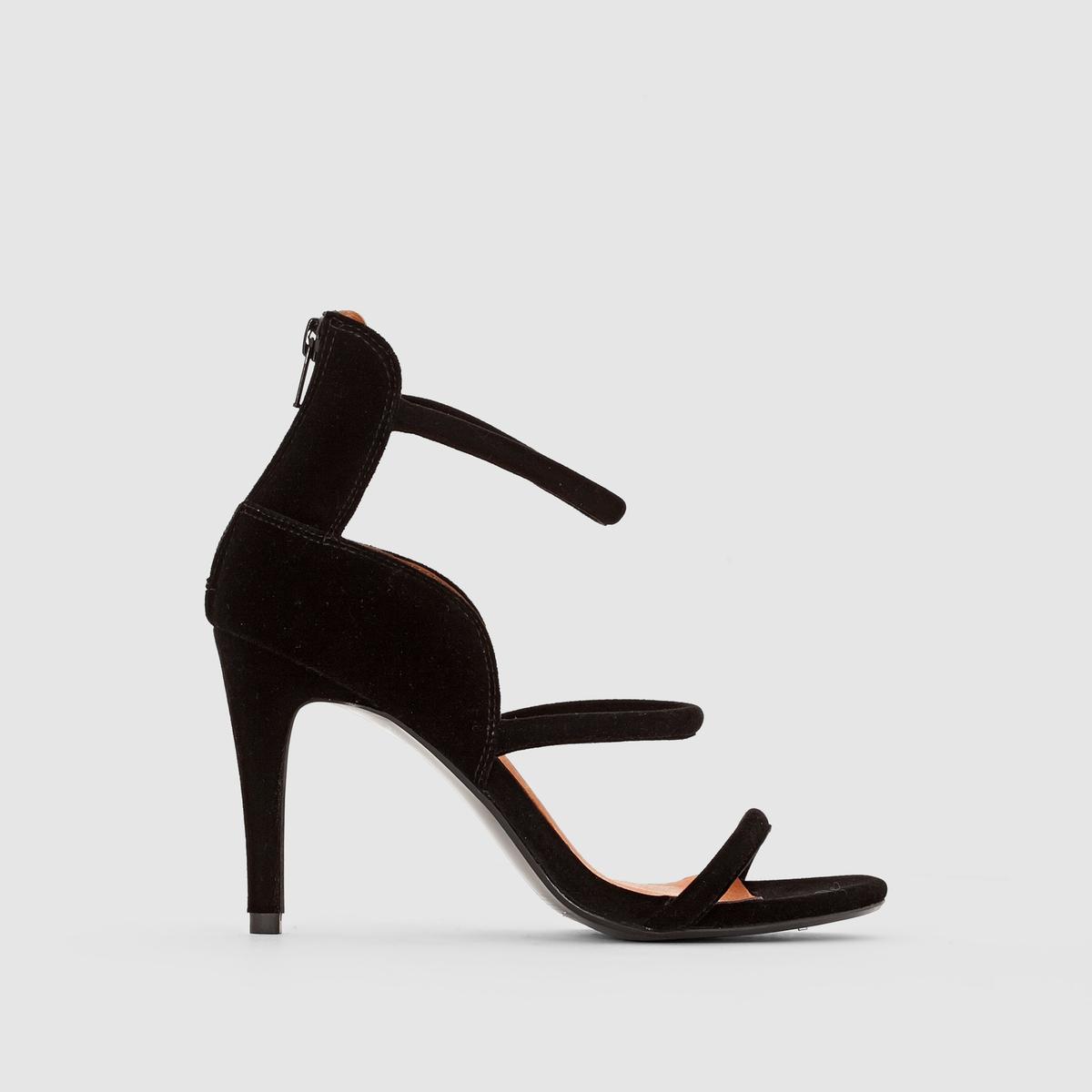 Босоножки велюровые на высоком каблукеПреимущества : оригинальные велюровые босоножки на каблуке с застежкой на пятке и тонкими ремешками.<br><br>Цвет: черный<br>Размер: 37.36.39