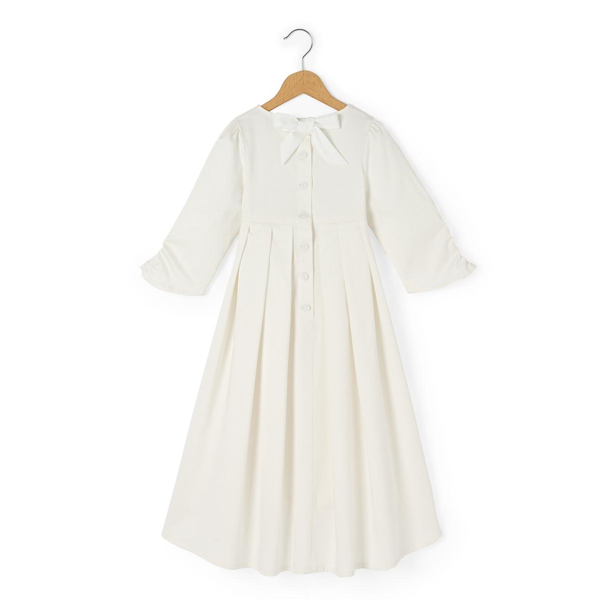 Платье для торжества из сатина, 3-12 летПлатье для торжества из сатина. Вырез-лодочка. Рукава 3/4 со складками. Высокий вырез. Асимметричный низ. Лента сзади.Состав и описание : Материал          100% хлопокМарка          DELPHINE MANIVET X LA REDOUTEУход :Машинная стирка при 30 °C с вещами схожих цветовСтирать и гладить с изнаночной стороныСухая чистка и машинная сушка запрещеныГладить при низкой температуреDELPHINE MANIVET приложили все вое мастерство для производства товаров для самых маленьких.Вы можете увидеть кружева, мусслин, эффект прозрачности и милые драпировки - все это является неотъемлемой частью праздничных нарядов наших маленьких героев дня.<br><br>Цвет: белый<br>Размер: 12 лет -150 см